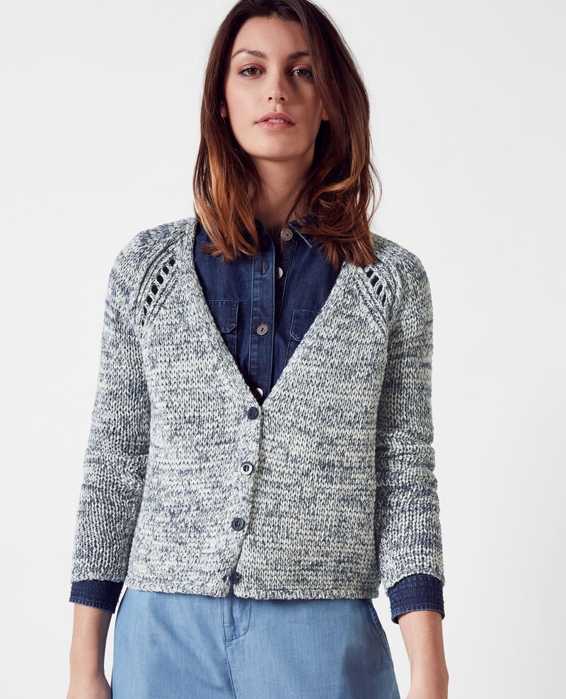 Cardigan en maille chinée Ink blue Cobeyn