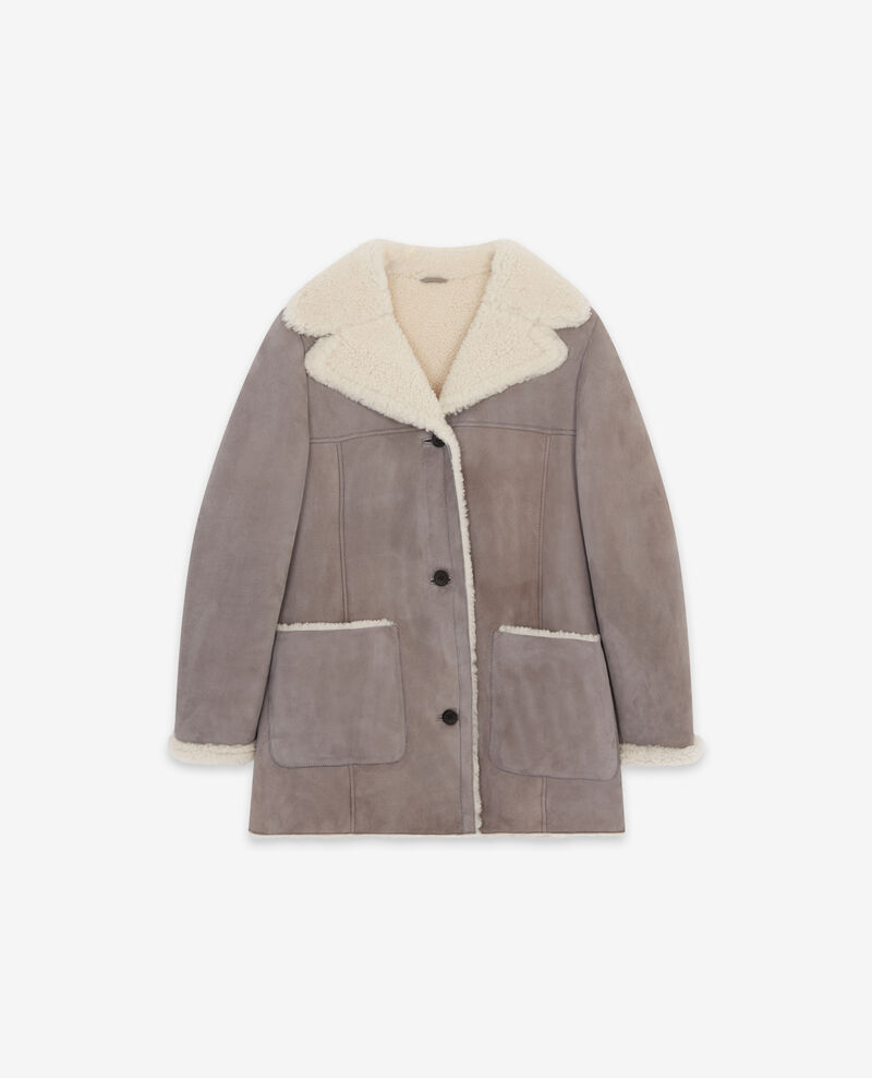 Manteau en peau lainée Light grey Dolotto