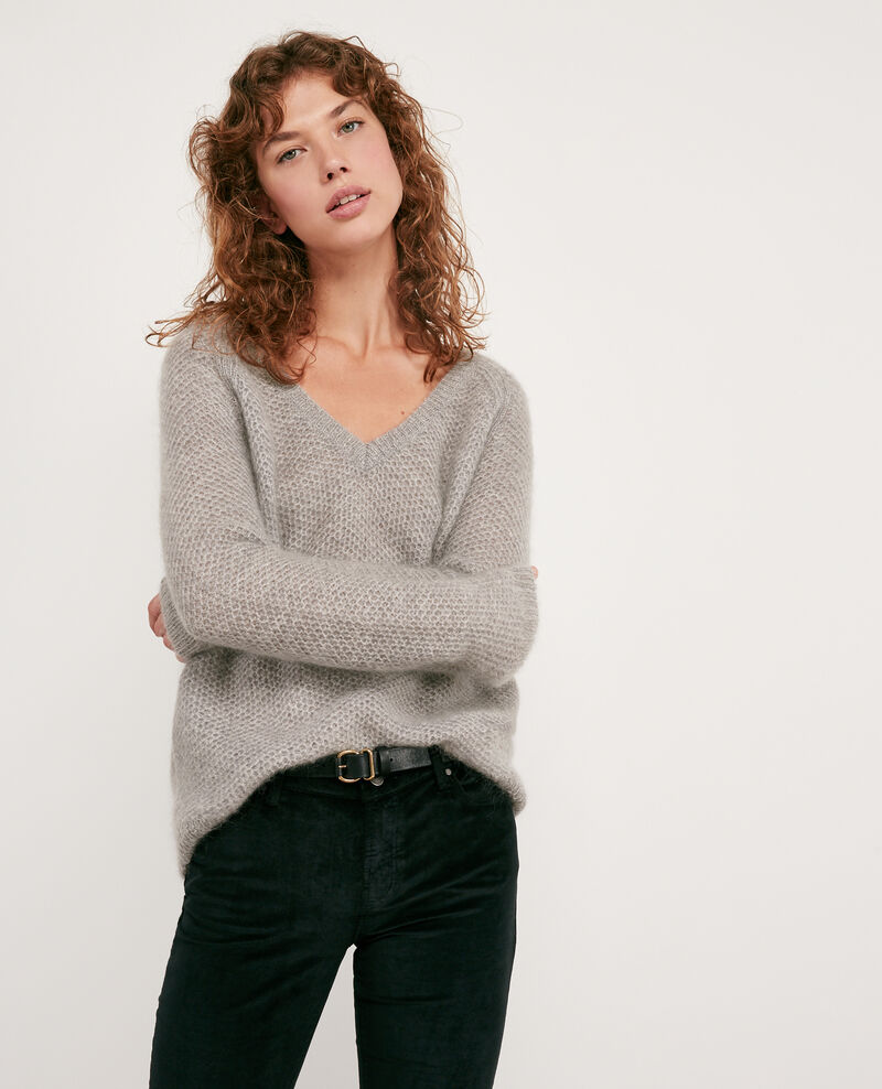 Pull avec mohair Light grey/off white Dahbia