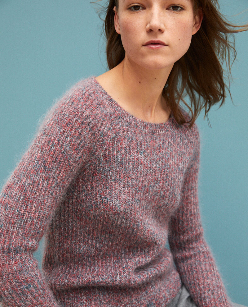 Pull chiné en mohair POMPEIAN RED/ULTRA GREEN/OFF WHITE