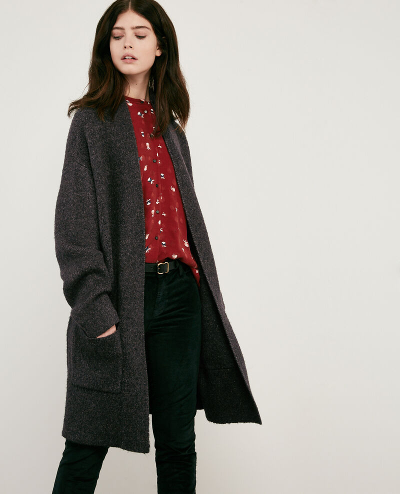 Cardigan mi-long Dark heather grey Demis