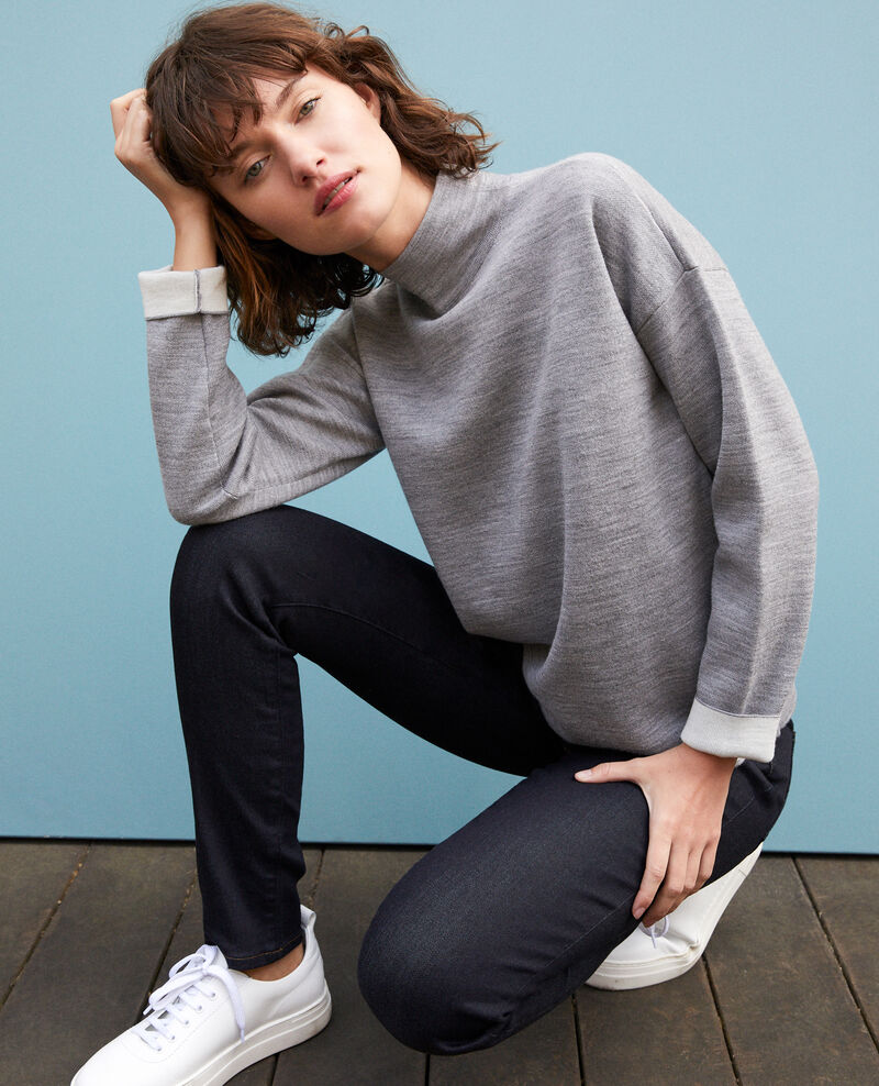 Pull double face en laine mérinos LIGHT HEATHER GREY/OFF WHITE
