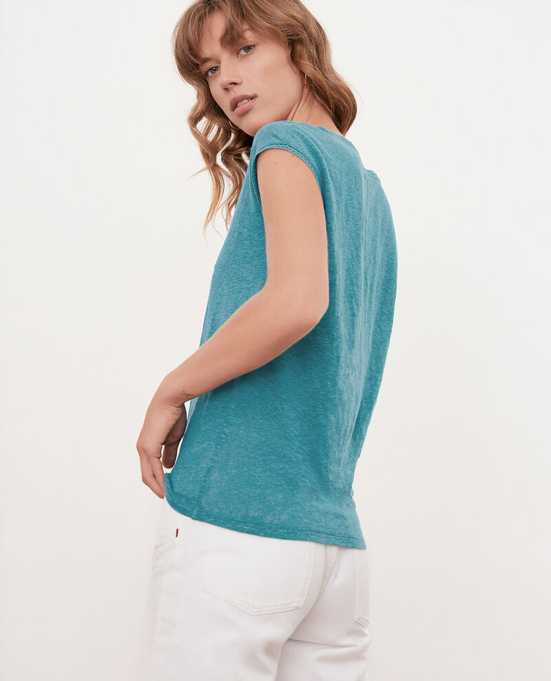T-Shirt en lin Pacific green Fevian
