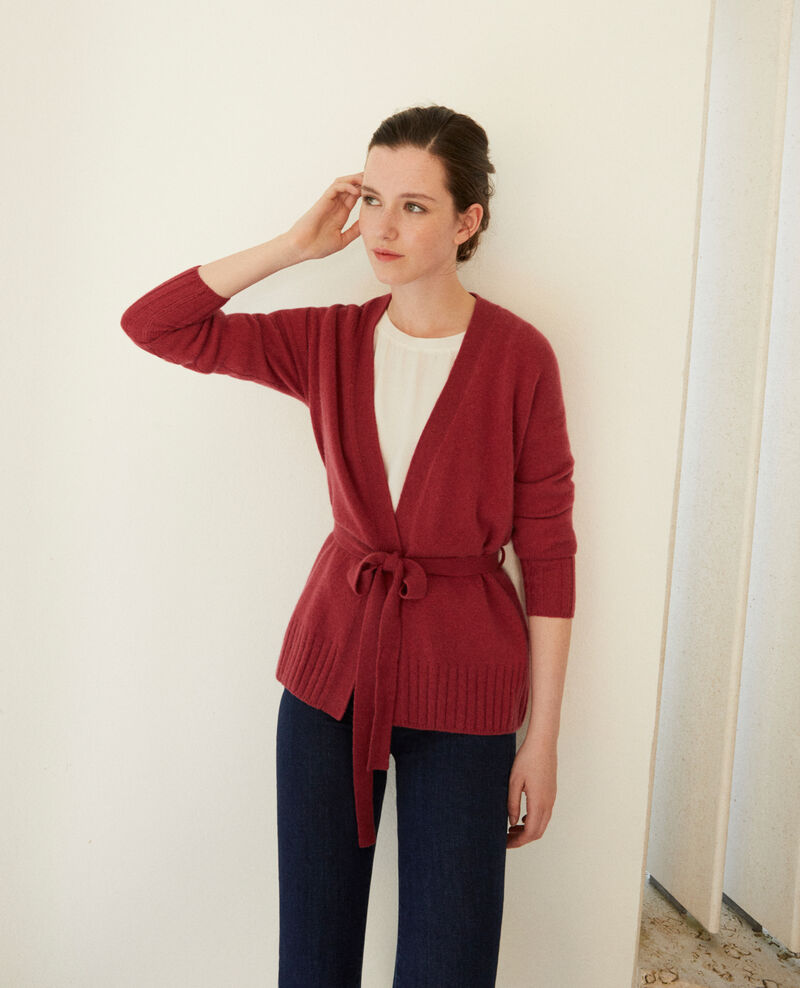 Cardigan cache cœur en cachemire EARTH RED