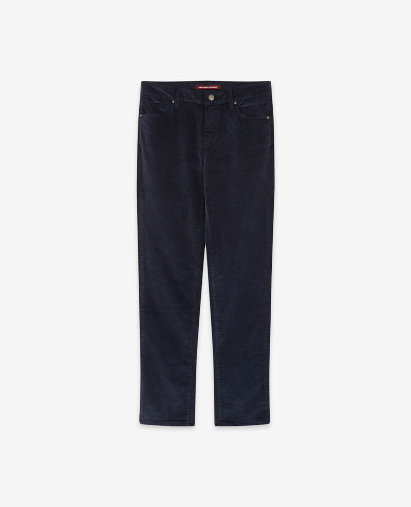 Pantalon cigarette en velours stretch Navy Decharpe