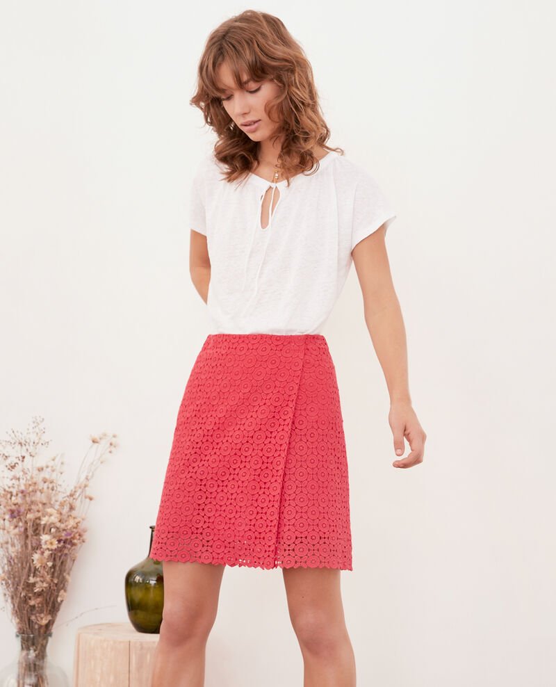 Jupe portefeuille en broderie anglaise Ultra pink Fordeaux
