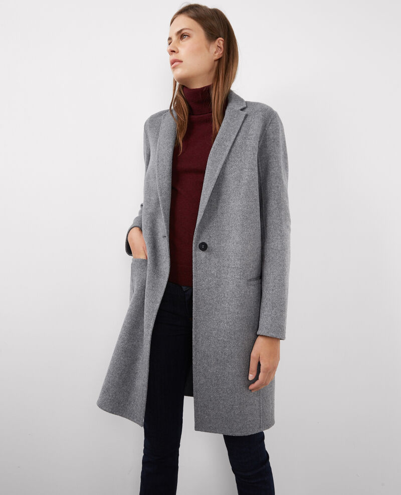 Manteau officier avec laine medium heather grey - Manteau peau lainee comptoir des cotonniers ...