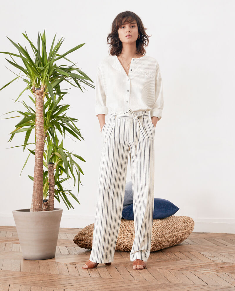 Pantalon large rayé OFF WHITE/NAVY STRIPES