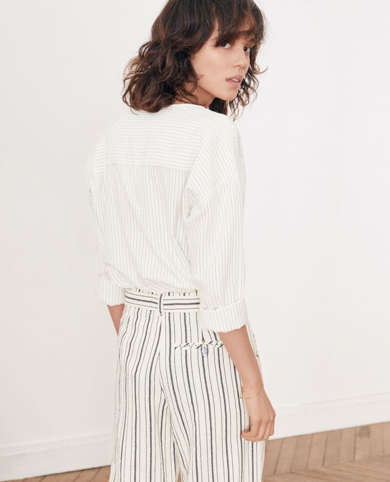 Chemise rayée Off white/navy stripes Falaise