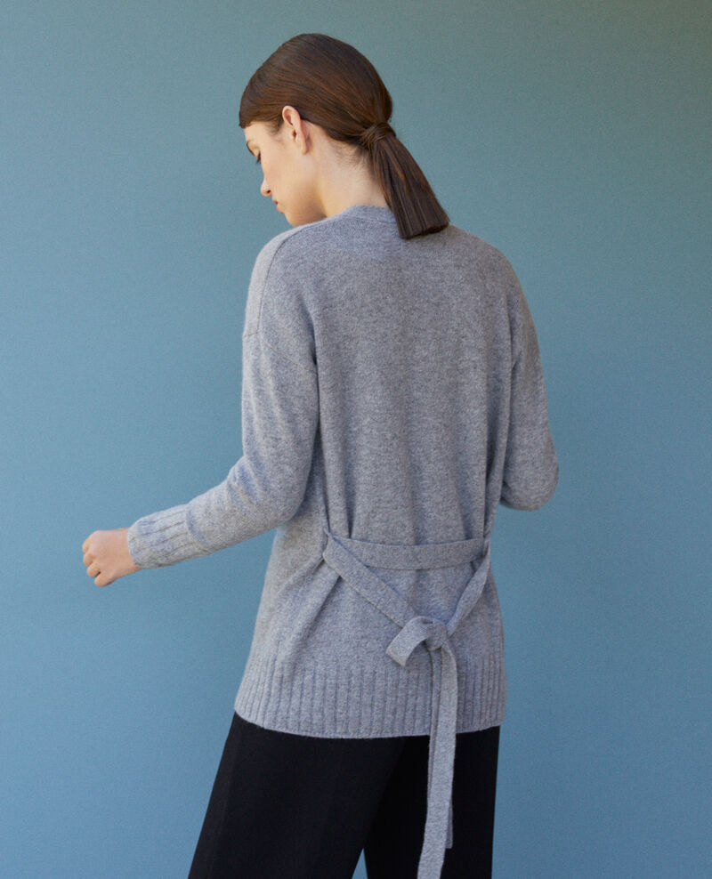 Cardigan cache cœur en cachemire Light heather grey Germain