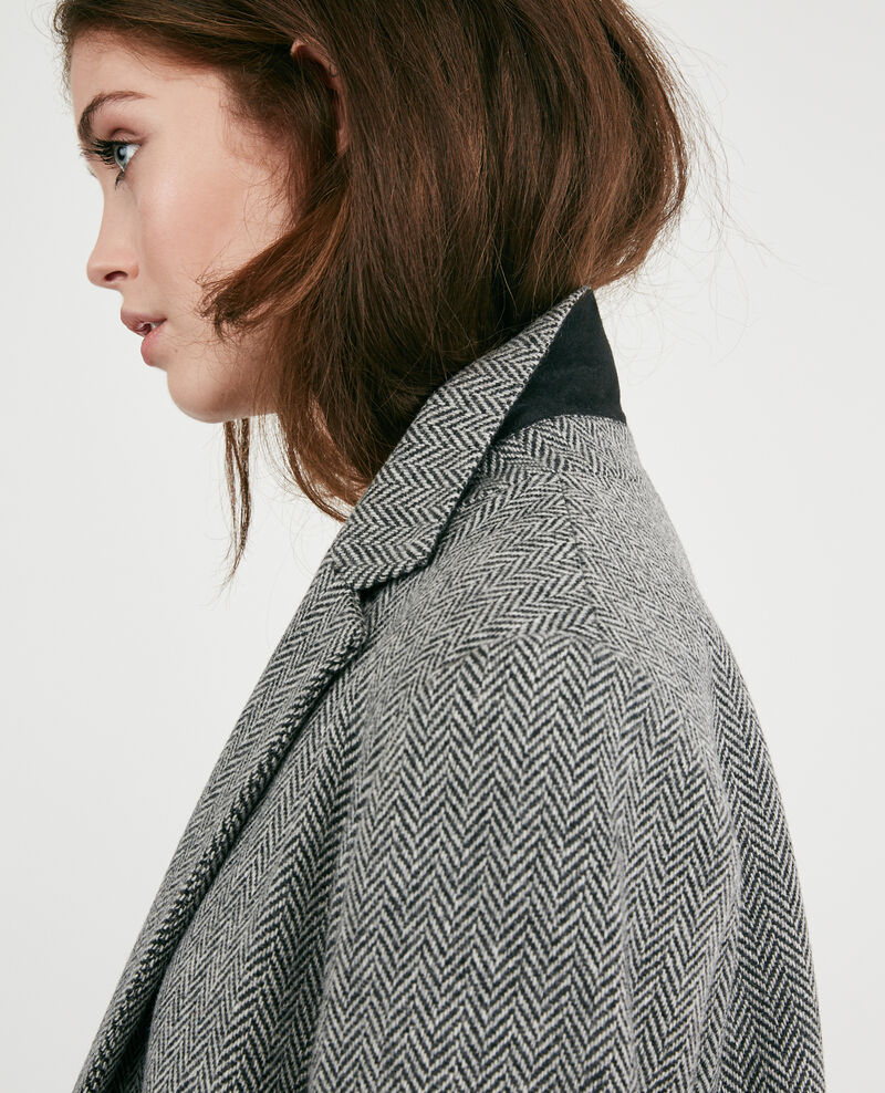 Manteau long en tweed avec laine Medium heather grey Dalacet