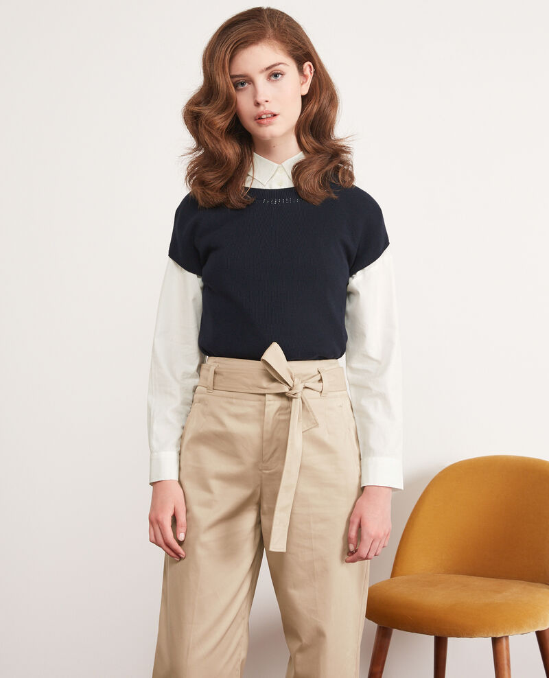 Pull manches courtes zéro coutures Navy Dalande