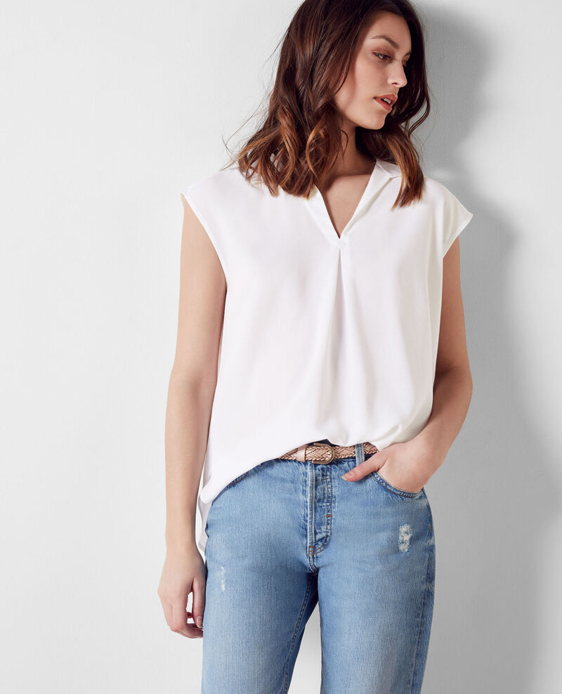 Blouse fluide sans manches Off white Crunch