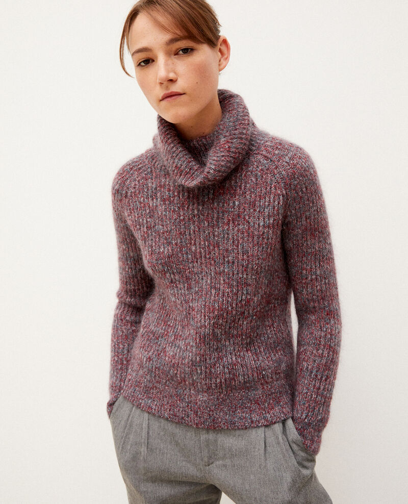 Pull col roulé avec mohair RIO RED/EVER GREEN/OFF WHITE