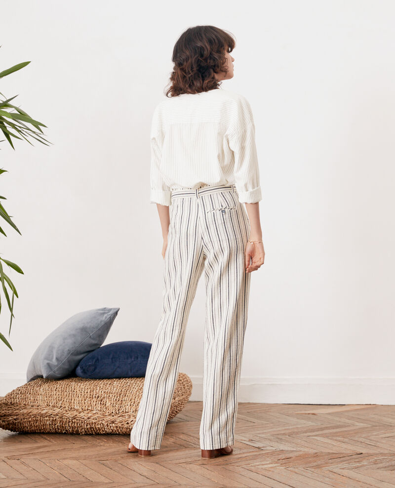 Pantalon large rayé Off white/navy stripes Francis