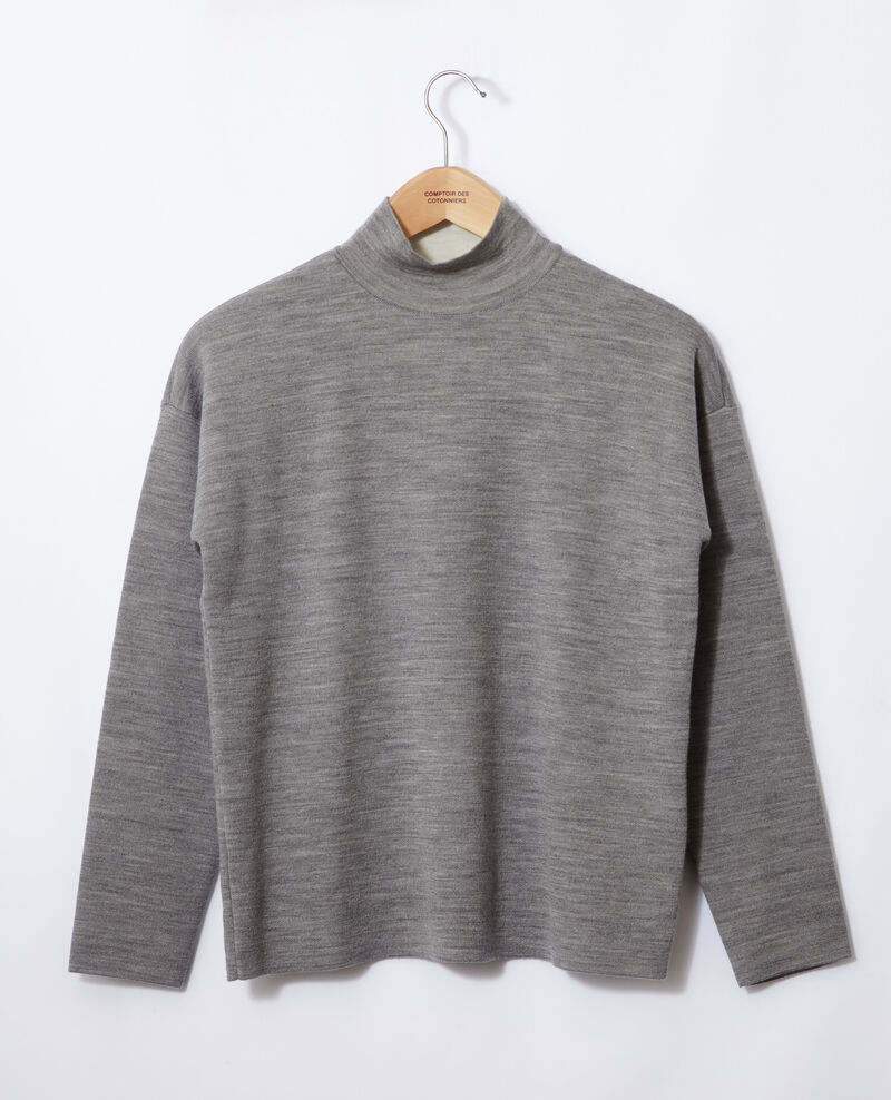 Pull double face en laine mérinos Light heather grey/off white Gibbon