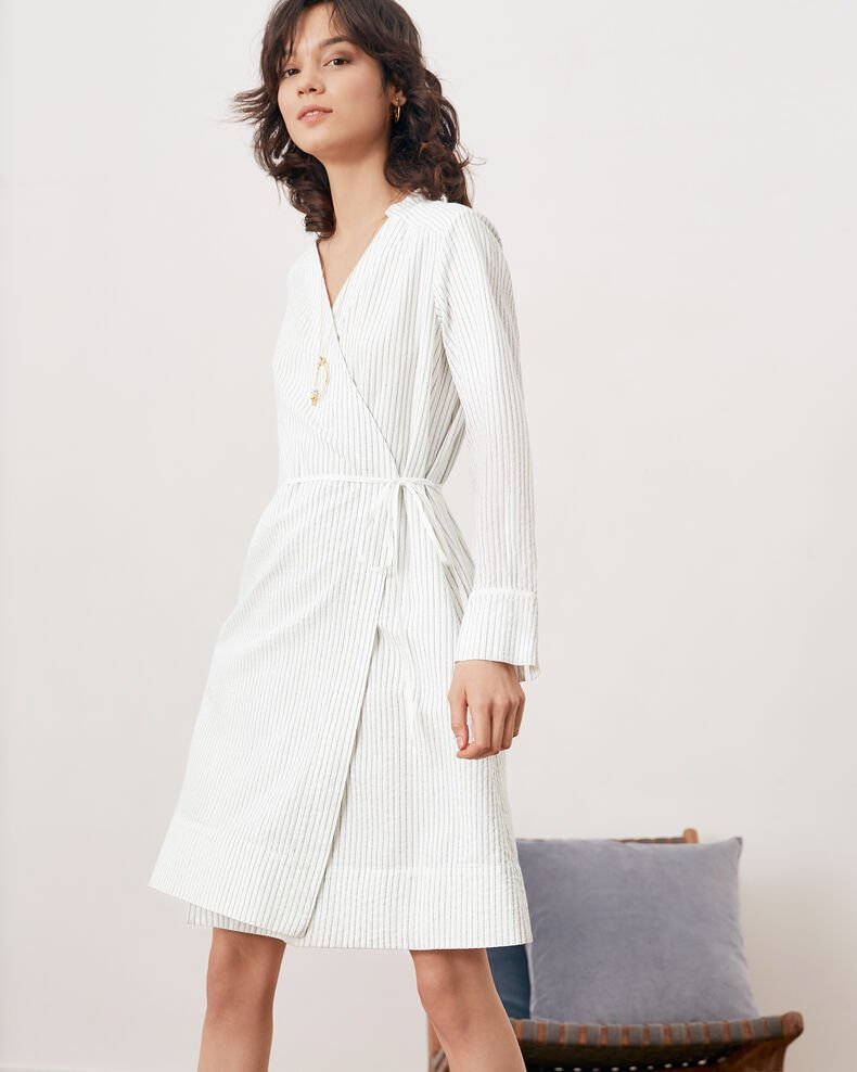 Robe cache cœur rayée Off white/navy stripes Fading