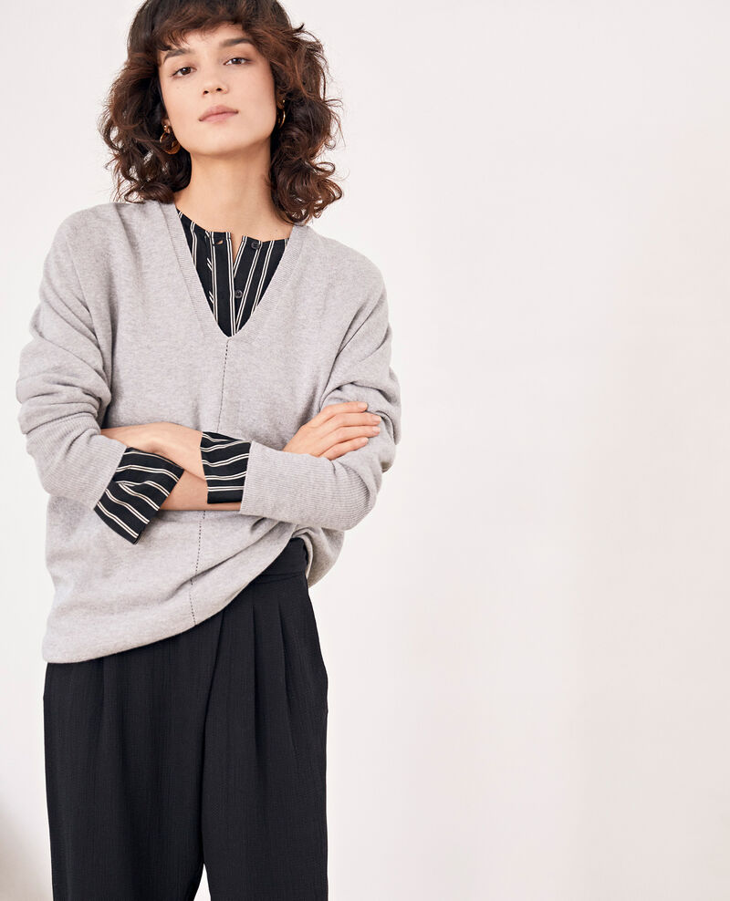 Pull manches 3/4 Light grey Fabienne