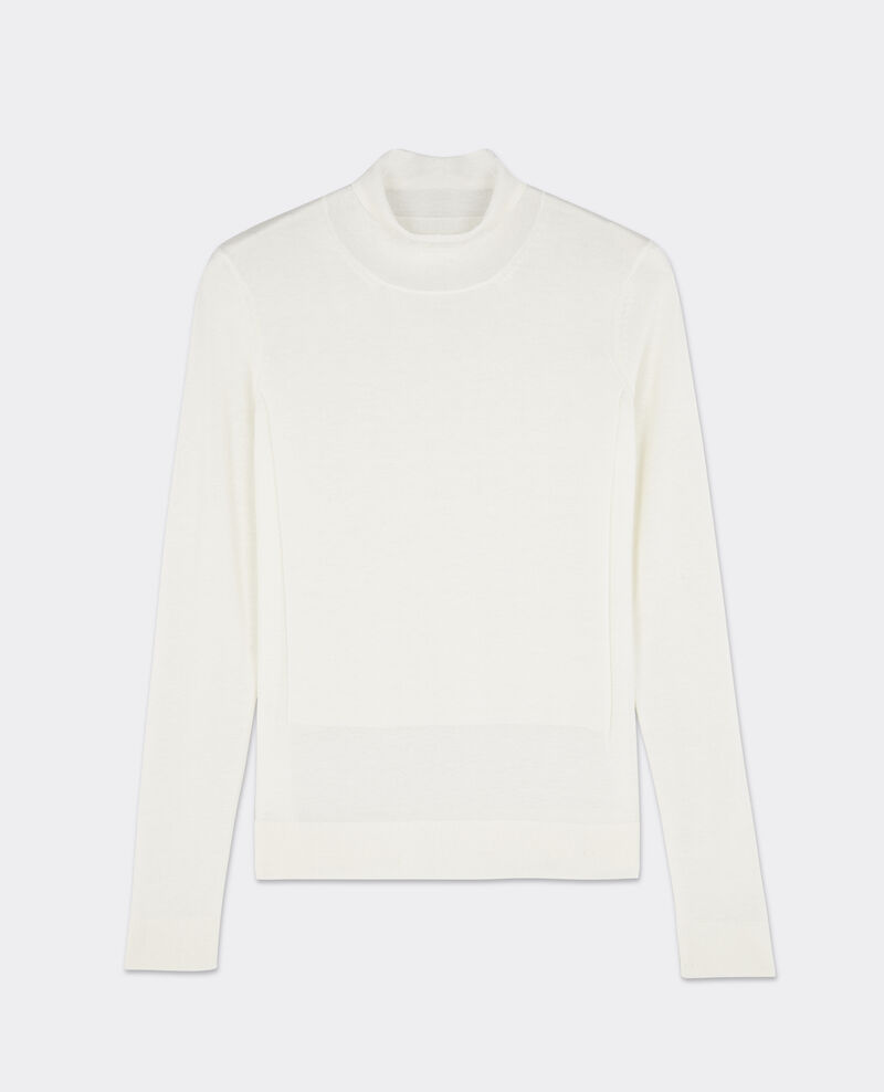 Pull col cheminée avec laine Off white Beyonsse