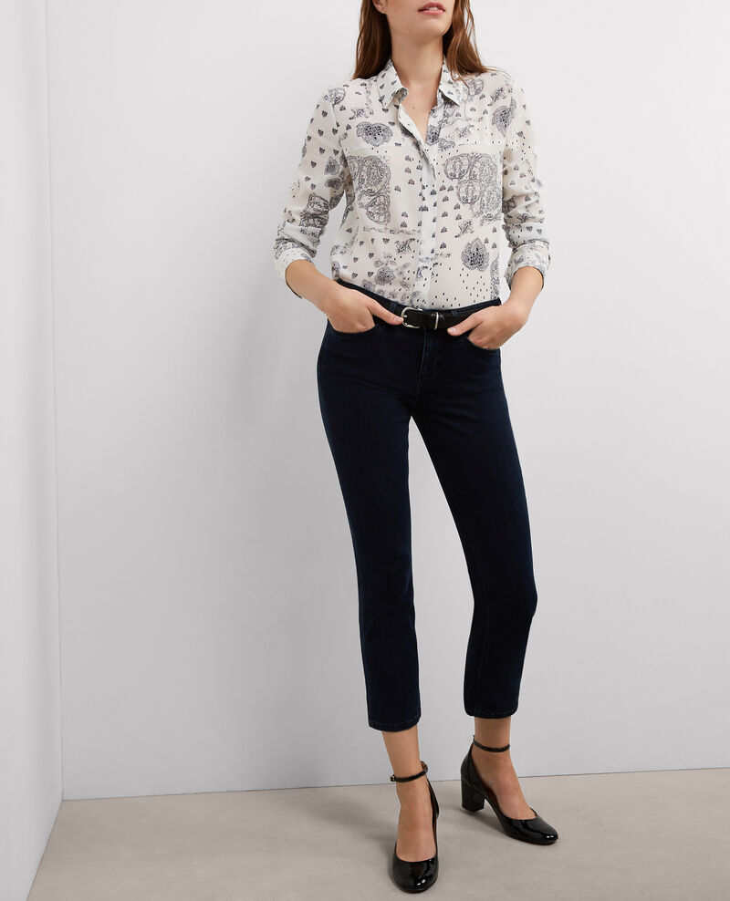 "Jeans droit cropped ""Fille dans le vent"" Light blue black Bemol"