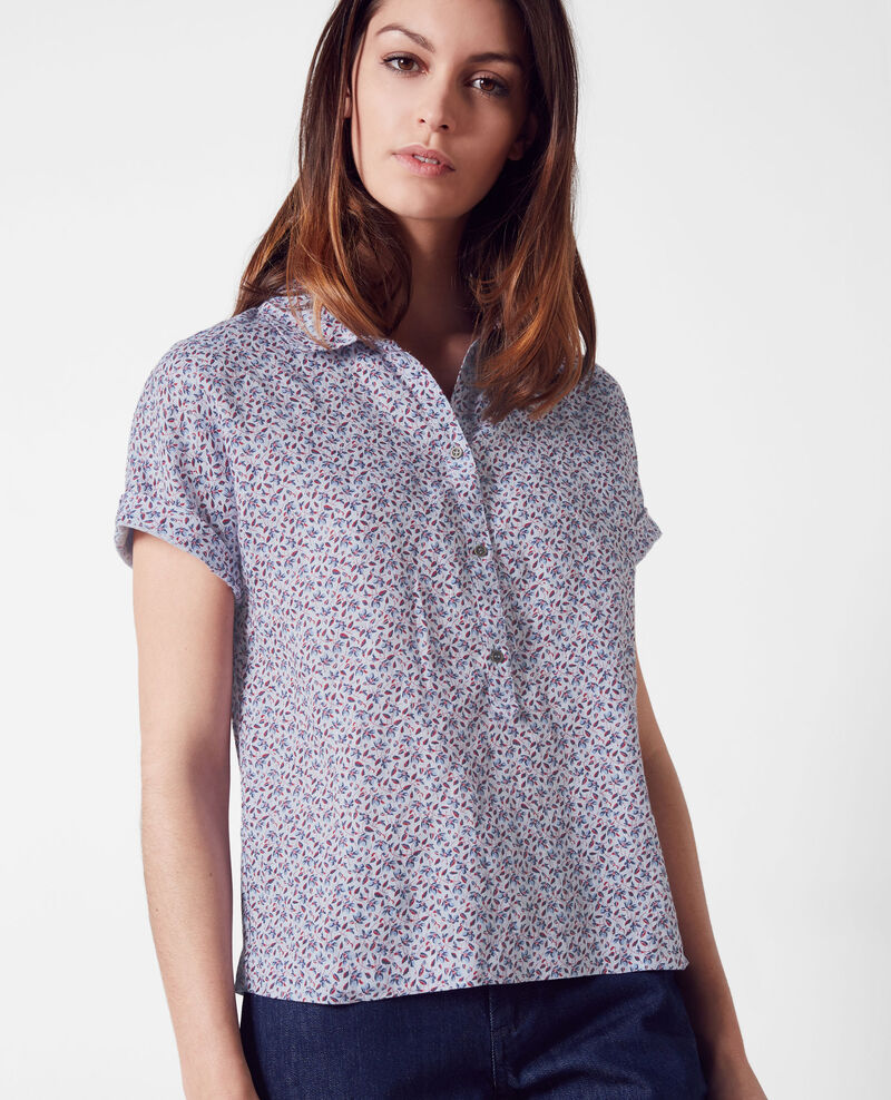 Blouse imprimée en lin Linen meadow crimson Ciflower