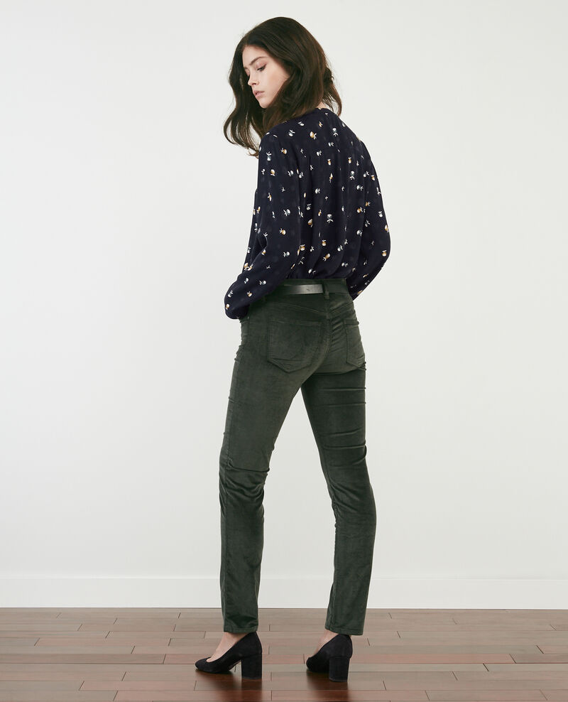 Pantalon cigarette en velours stretch Deep green Decharpe