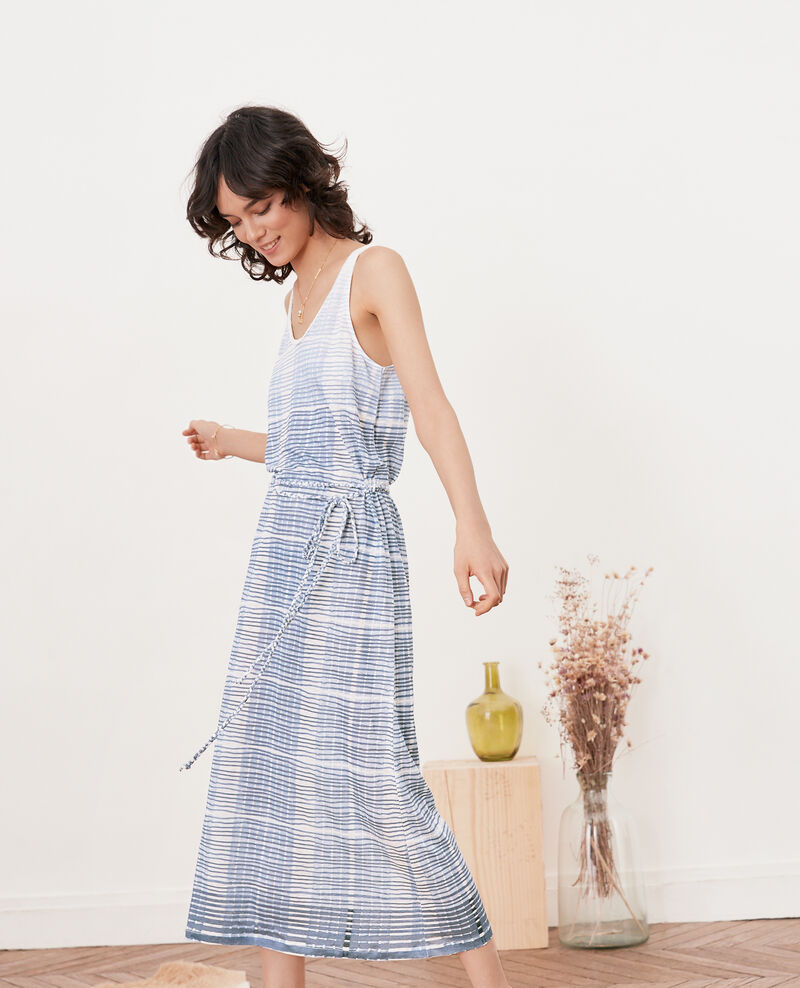 Robe mi-longue en lin Tie&dye washed blue Fieto