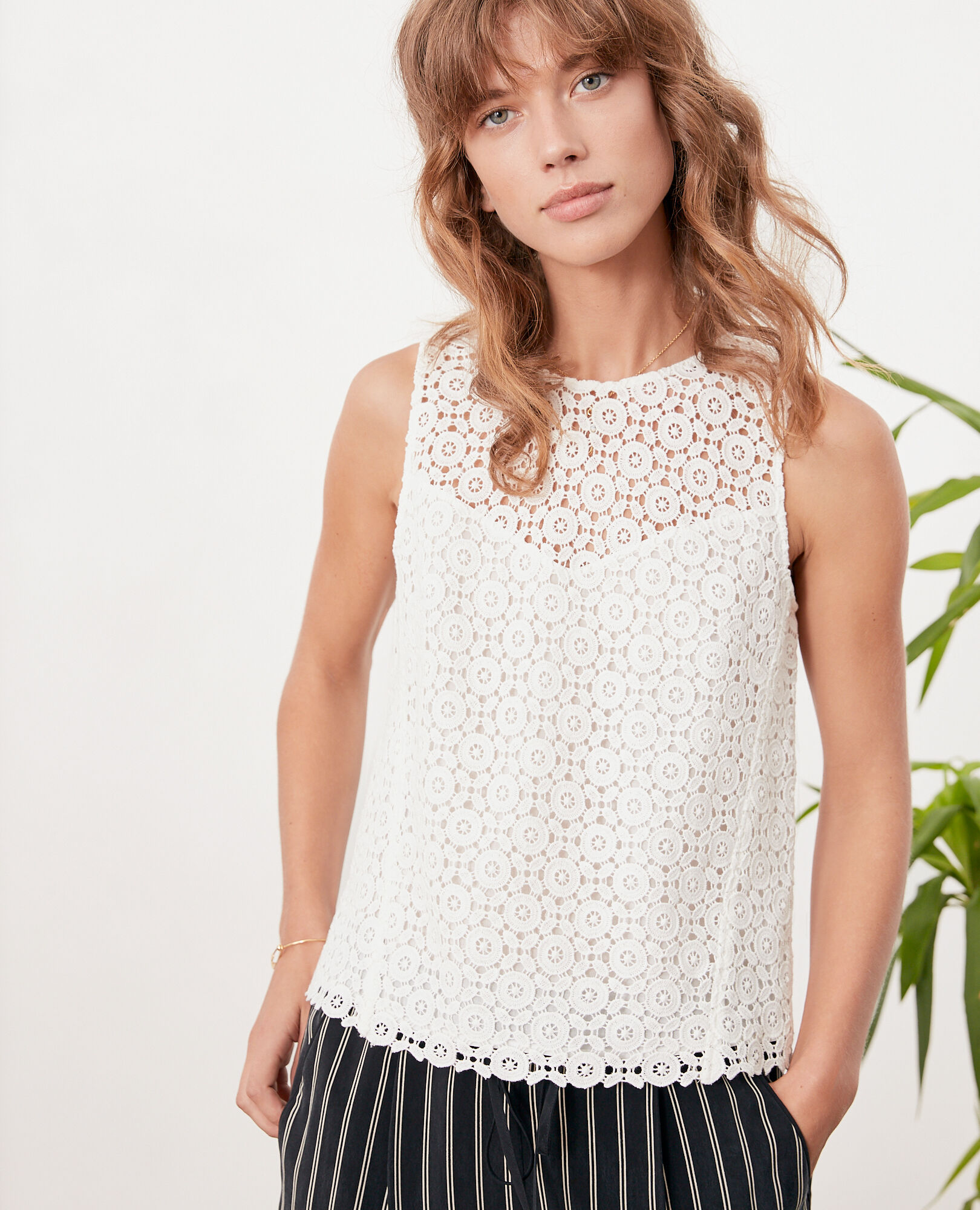 Top en broderie anglaise OFF WHITE