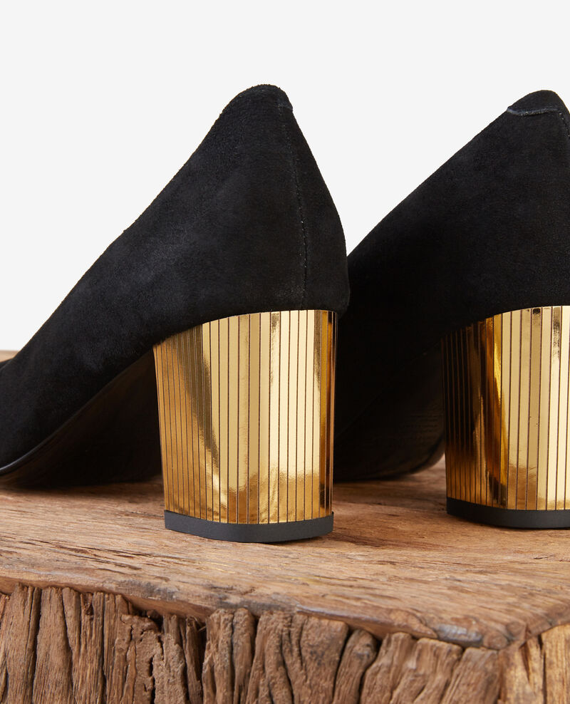 Escarpins en cuir velours avec talon metallique Noir/gold Dedisco