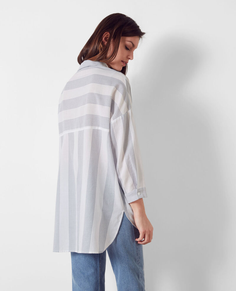 Chemise oversize en coton Off white/midnight Cineclub