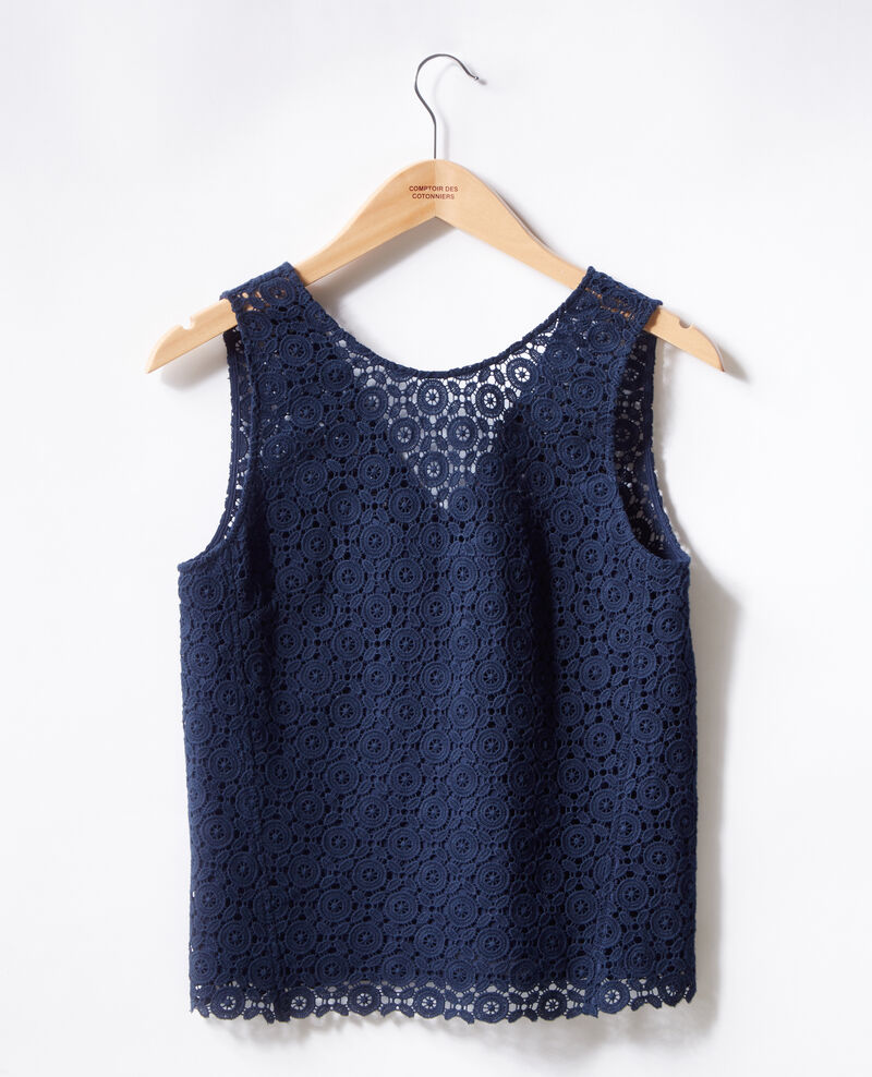 Top en broderie anglaise Navy Foulouse