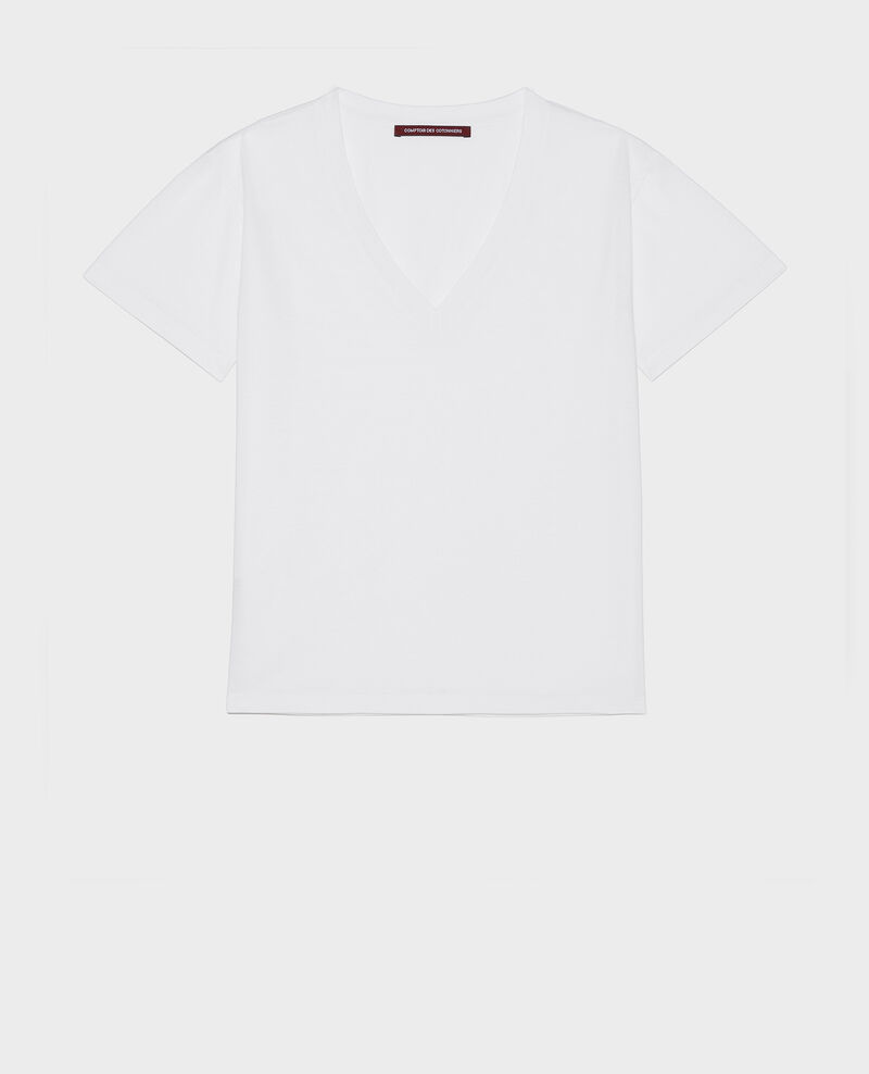 T-shirt en coton col V Optical white Laberne