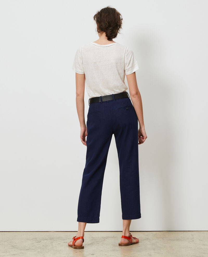 Pantalon MARGUERITE 7/8e en coton et lin Maritime blue Laiguillon