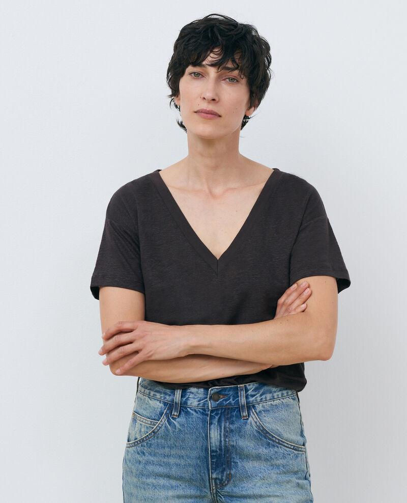 T-shirt col V en lin Mole Locmelar