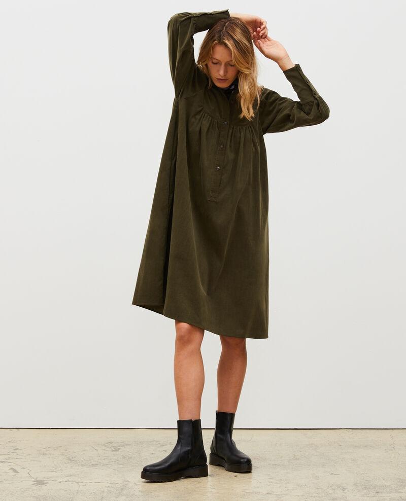 Robe ample en velours à plastron Military green Marcheville