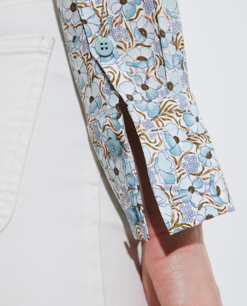 SIBYLLE - Chemise en soie manches longues Art deco blue Misabethou