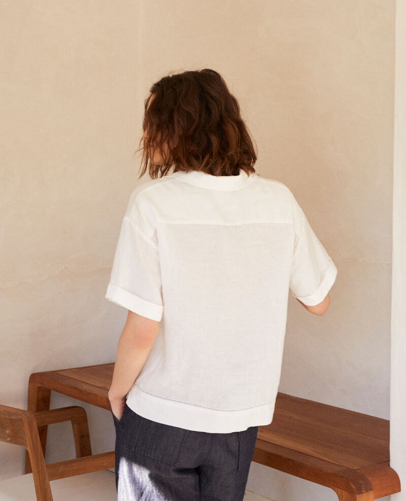 Chemise col ouvert en lin Off white Ilage