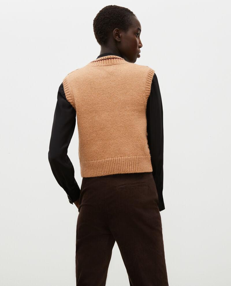 Pull jacquard sans manches en laine alpaga Jacquard taupe black brandybrown Moiran