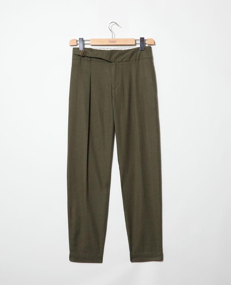 Pantalon avec du lin Military green Inouri