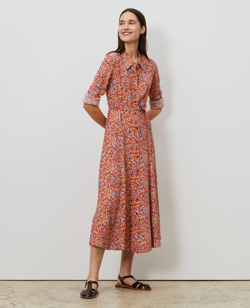Longue robe chemisier imprimée Garden royalblue Narbonnie