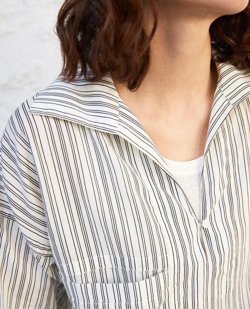 Blouse à rayures en coton Off white/grey Iteria