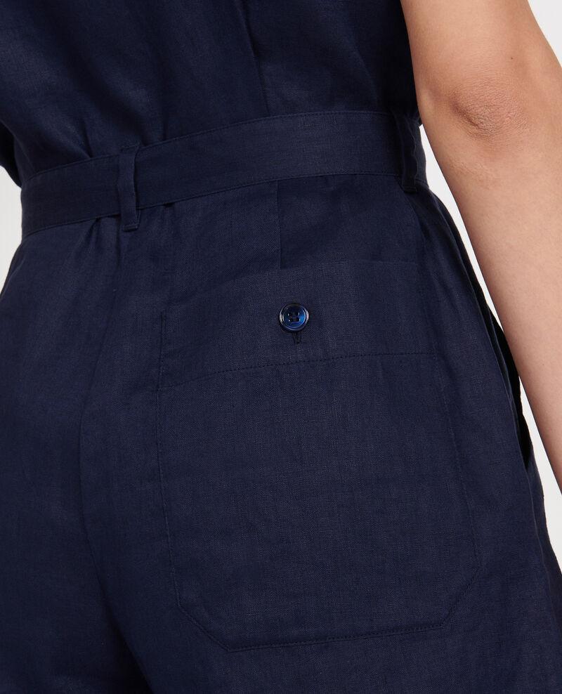 Combinaison short en lin Maritime blue Lariona