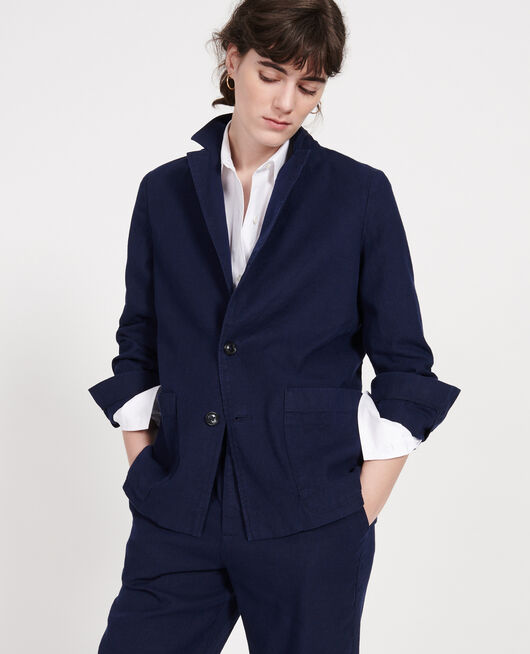 Veste de costume en twill de lin et coton mélangés MARITIME BLUE