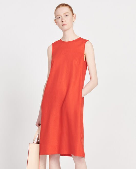 Robe 3 trous en lin FIERY RED