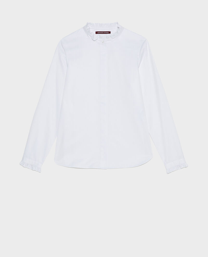 Chemise en coton à col montant volanté Brilliant white Marcenat