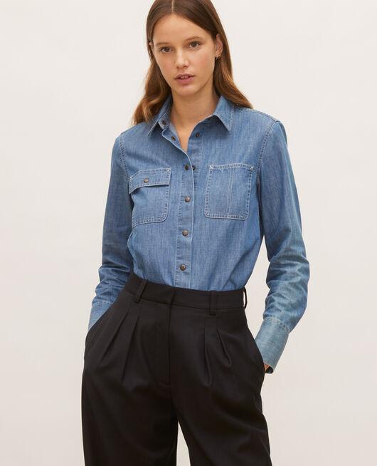 Chemise en jean à poches asymétriques DENIM BLUE