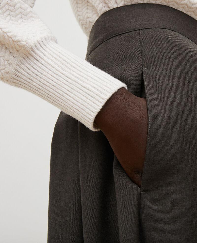 Jupe culotte à plis en laine et cachemire Kaki Marby