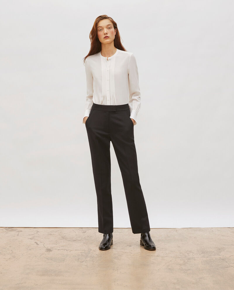 Pantalon MARCELLE, masculin, droit en laine  Black beauty Misabelle