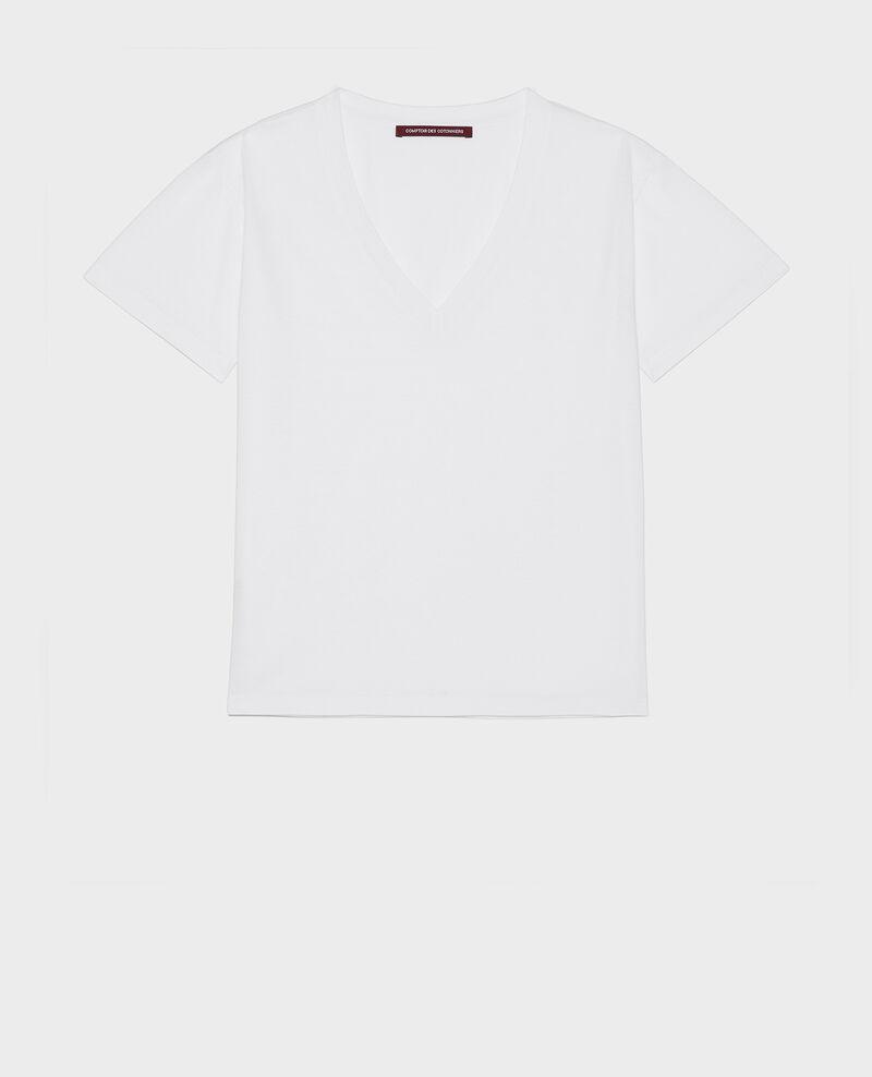 T-shirt en coton col V Optical white Laberne