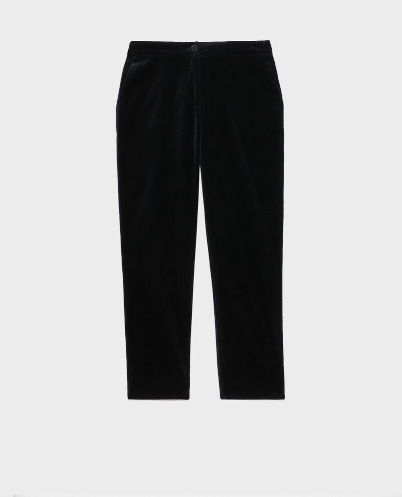 Pantalon MARGUERITE, 7/8e en velours de coton Navy deep Poko